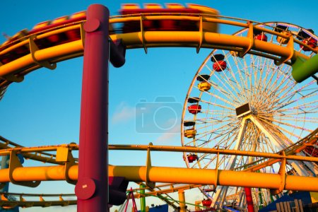 Amusement park rides on a pier