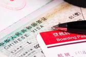 visa de Chine dans le passeport et la carte d'embarquement