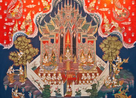 Thai art painting in a temple in Thailand