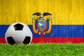 Soccer ball on grass with Ecuador flag background