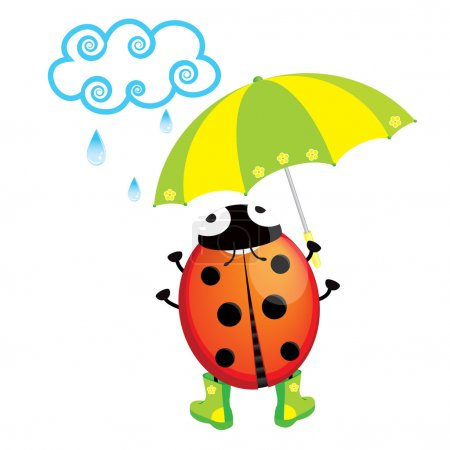Cute ladybug standing in the rain with an umbrella...