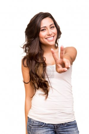 Young woman showing peace or victory sign