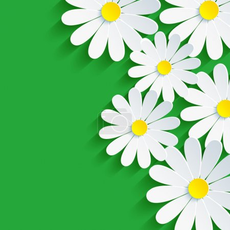 Illustration for 3d flower chamomile, spring background abstract. Floral vector green background. Vector illustration - Royalty Free Image