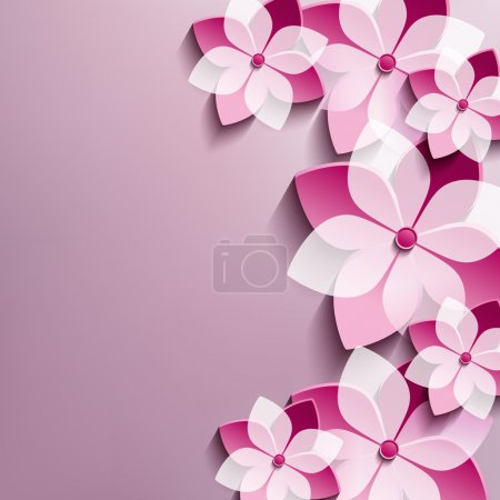 Floral festive background with pink 3d flowers sakura