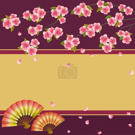 Illustration for Oriental background with two folding fans and branch of pink blossoming sakura - Japanese cherry tree with falling petals. Beautiful stylish golden - maroon wallpaper with place for text. Vector illustration - Royalty Free Image