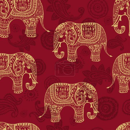 Illustration for Clear seamless texture with stylized patterned elefants in Indian style. Vector endless background - Royalty Free Image