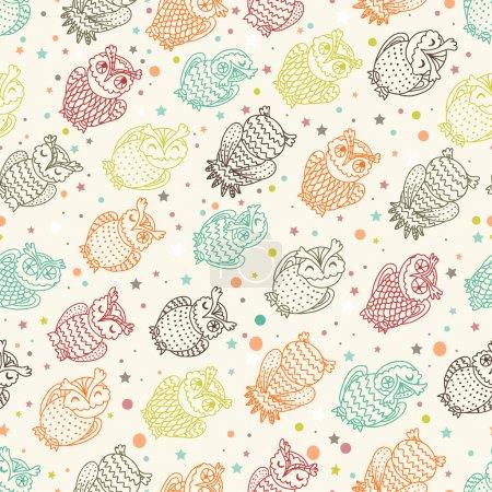 Various amusing owls seamless pattern