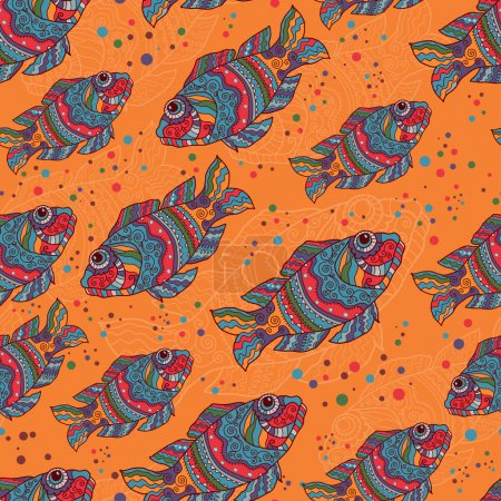 Illustration for Hand drawn fishes seamless pattern in ethnic style. Endless seamless background - Royalty Free Image