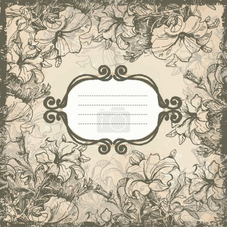 Retro flowers frame