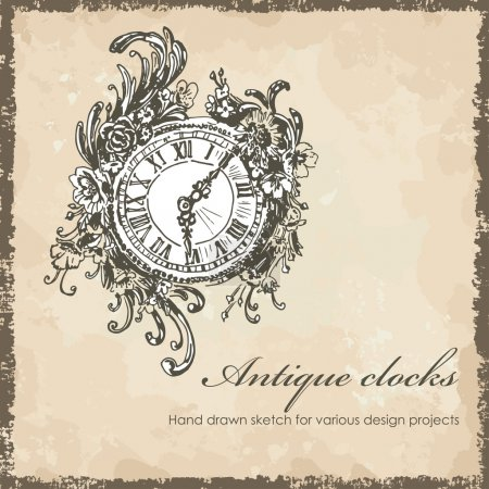 Illustration for Hand drawn antique clocks sketch. Sketch, old background, text, shabby frame are located on separate layers and can be used separately or altogether - Royalty Free Image