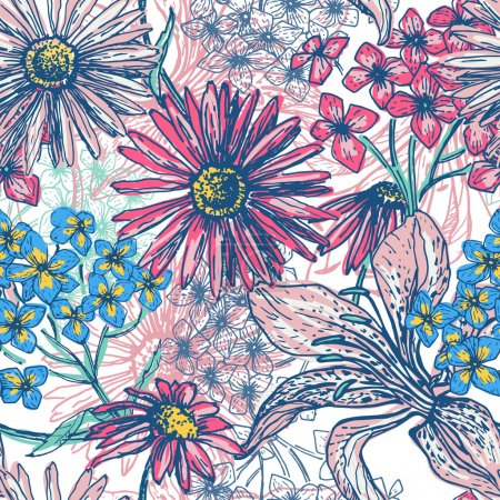 Illustration for Hand drawn elegance fresh floral seamless pattern. Vintage botanical elements. All objects are conveniently grouped  and are easily editable - Royalty Free Image
