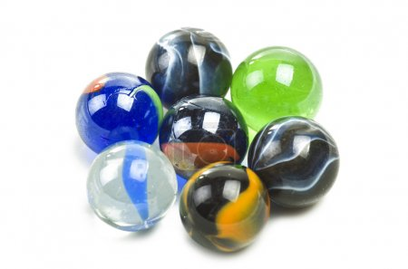 Photo for Various marbles close up on the white - Royalty Free Image