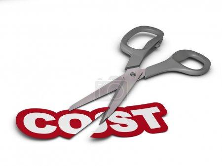 Photo pour Word coût coupé en deux parties avec ciseaux gris sur fond blanc . - image libre de droit