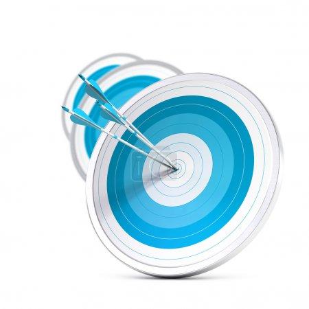 Photo pour Beaucoup de cibles bleues et trois flèches atteignant le centre de la première, image avec effet flou, format carré. Marketing stratégique ou avantage concurrentiel des entreprises - image libre de droit