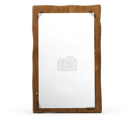 Photo pour Panneau vertical en bois blanc avec papier blanc fixé avec ruban adhésif en plastique avec espace pour la communication - image libre de droit