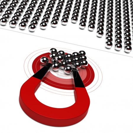 Photo for Horseshoe magnet with metal ball and red target, symbol of market audience - Royalty Free Image