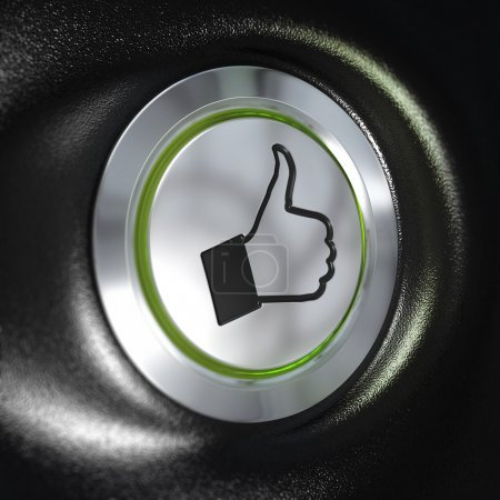 Photo for Close up of a metallic button with a hand and thumbs up symbol, green light, blur effect, automotive concept of quality - Royalty Free Image