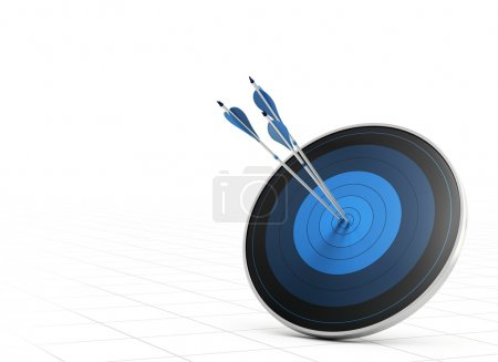 Photo for Three blue arrows hitting the center of a blue target or dart, white background with perspective, concept of performance or goal - Royalty Free Image