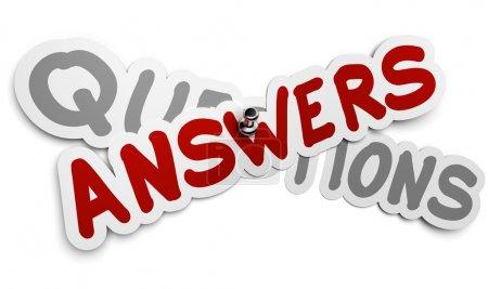 Foto de Etiqueta engomada una respuesta fijada utilizando una chincheta sobre un fondo gris palabra preguntas, blanco, concepto faq - Imagen libre de derechos