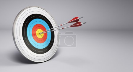 Photo for Two arrows hitting the center of a target, grey background. 3D render illustration - Royalty Free Image