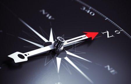 Photo pour Aiguille boussole pointant vers le nord, image adaptée au concept de consultation d'entreprise. Illustration de rendu 3D . - image libre de droit