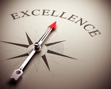 Photo pour Compas excellence aiguille pointant le mot, image adapté pour le concept d'entreprise. illustration de rendu 3D. - image libre de droit