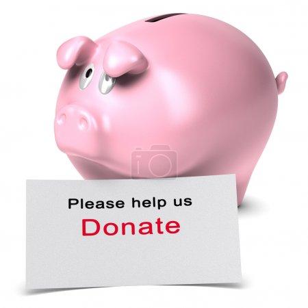 Photo pour Texte S'il vous plaît aidez-nous, faites un don écrit sur une carte blanche contre une tirelire. rendu 3D sur fond blanc adapté à la page de danation d'organisation à but non lucratif . - image libre de droit