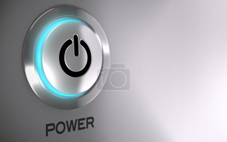 Photo for Push button with blue light and depth of field effect - 3D render concept image suitable for power energy button with copy space on the right side - Royalty Free Image
