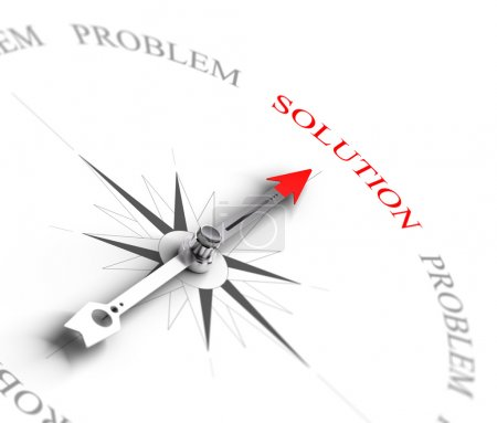 Photo for Compass with arrow pointing to the word solution vs problems. 3D render image suitable for business consulting concept, 3D render with depth of field effect - Royalty Free Image