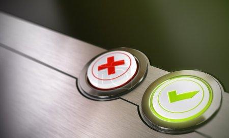 Photo pour Validation touches système avec options true ou false avec feu vert et effet de flou - image libre de droit