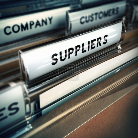 Photo for Focus on a folder tab where it is written the word suppliers, 3D render, blur effect. - Royalty Free Image