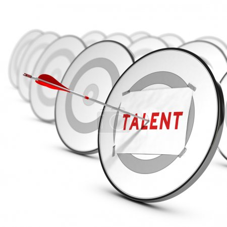 Photo for One arrow hitting the center of a grey target. A sheet of paper with the word TALENTS is fixed on it. Many other targets around the main one. Concept of talents recruitment. - Royalty Free Image