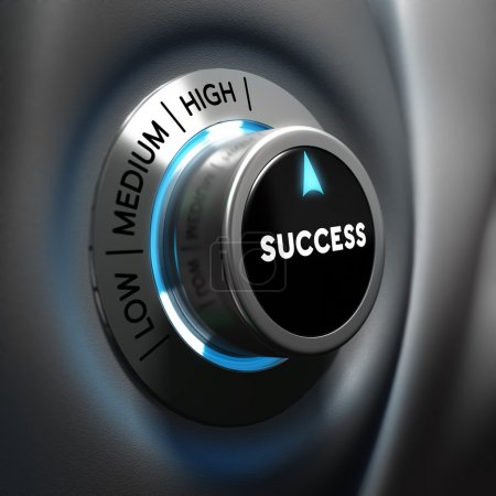 Photo for Success selector button with blue and grey tones. Conceptual 3D render image with depth of field blur effect. Concept suitable for successful business or motivation - Royalty Free Image