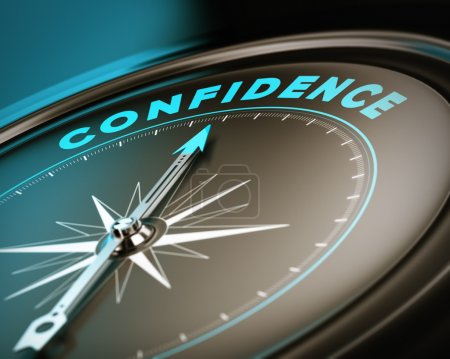 Photo pour Boussole avec confiance aiguille pointant le mot, l'estime de soi concept avec des tons bleu et bruns. se concentrer sur la partie supérieure - image libre de droit