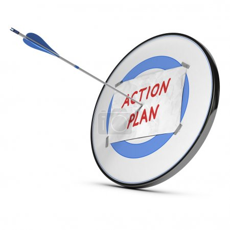 Photo for Action plan text handwritten on a sheet of paper fixed onto a blue target. One arrow hits the center of the target. Conceptual image for illustration of set goals and achieved it. - Royalty Free Image