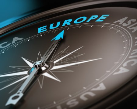 Photo for Abstract compass needle pointing the destination europe, blue and brown tones with focus on the main word. Concept image suitable for illustration of trip counseling. - Royalty Free Image