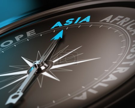 Photo for Abstract compass needle pointing the destination asia, blue and brown tones with focus on the main word. Concept image suitable for illustration of trip counseling. - Royalty Free Image