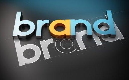 Foto de Pegatinas con la marca de la palabra sobre un fondo color beige. concepto de marca. la imagen es un 3d Render con efecto de desenfoque - Imagen libre de derechos