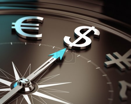 Photo pour Boussole avec aiguille pointant symbole dollar avec effet flou. Illustration de la devise et des solutions d'investissement US safe heaven . - image libre de droit