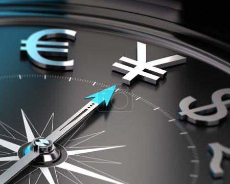 Photo pour JPY YEN dans un compas avec l'aiguille pointant le symbole avec effet flou. Illustration conceptuelle de l'investissement . - image libre de droit