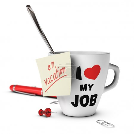 Photo for On vacation note glued on a mug. concept image for out of office message - Royalty Free Image