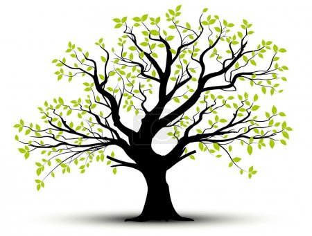 Illustration for Vector set - decorative tree and green leaves with shadow - Royalty Free Image