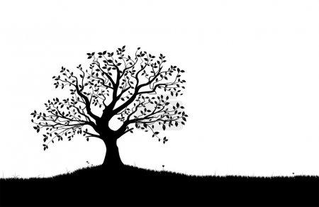 Illustration pour Silhouette vectorielle d'arbre, fleurs et herbe, forme vectorielle noir et blanc , - image libre de droit