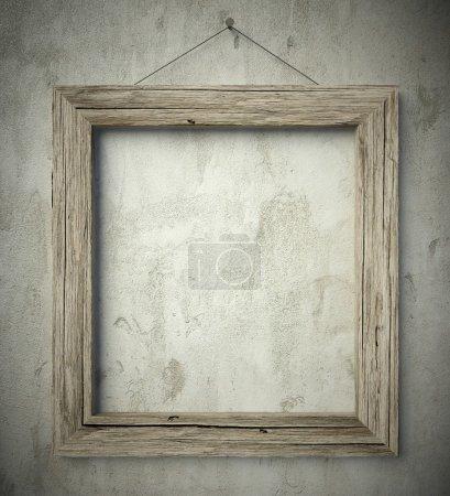 Photo pour 3d Simple vieux cadre en bois cercle, arrière-plan vintage - image libre de droit