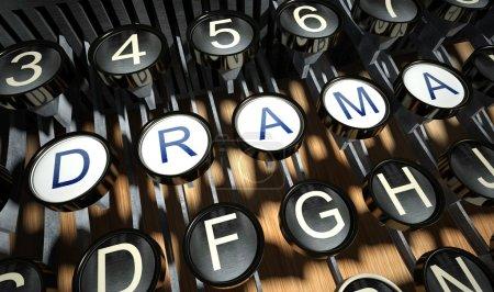 Photo pour Machine à écrire avec boutons Drame, style vintage - image libre de droit