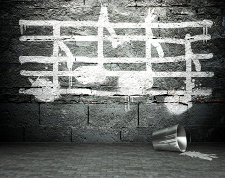 Photo for Graffiti wall with music notes sign, street art background - Royalty Free Image