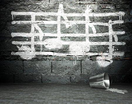 Photo pour Mur de graffitis avec musique notes signe, arrière-plan art de rue - image libre de droit