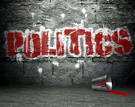 Graffiti wall with politics, street background