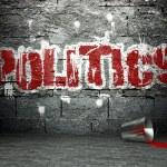 Graffiti wall with politics, street art background...