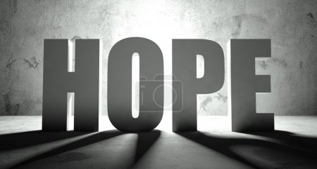 Photo for Hope word with shadow, background with text - Royalty Free Image